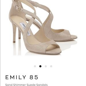 jimmy Choo Sand Shimmer Beautiful Suede Sandals 40